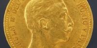 złota moneta 20 marek 1905 J Prusy awers